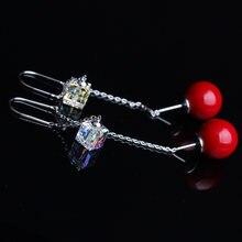 Модные блестящие серьги с австрийскими кристаллами Модная бижутерия