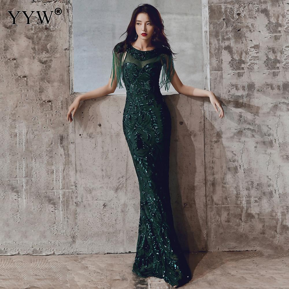 Elegant Mermaid Evening Dress For Women Floral Tassels Sequined Party Gown Fashion 2019 Mesh Sexy Robe Women Luxury Formal Dress