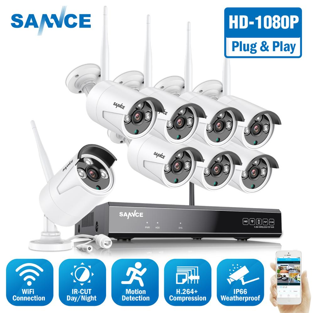 SANNCE 8CH HD 1080P Wireless Video Security System HDMI NVR With 4X 6X 8X 1080P Outdoor Weatherproof WIFI IP Camera Kit CCTV Set