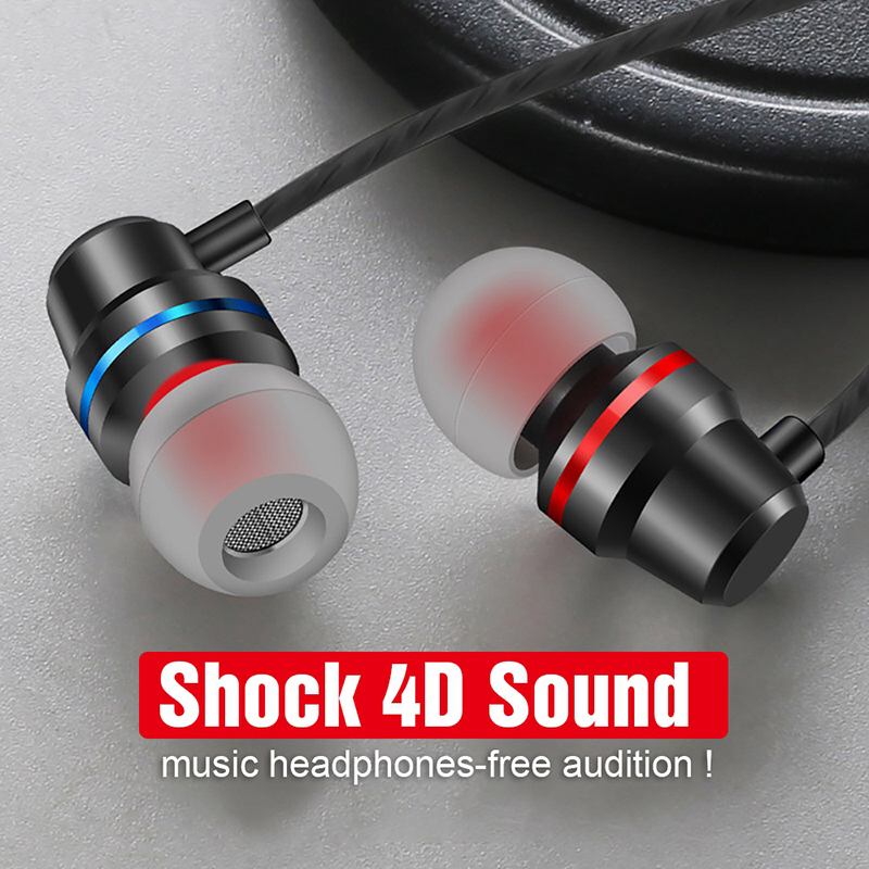 Cool Metal Earphones Music 4D Stereo 3.5mm Earphone With Mic For Samsung Xiaomi Huawei Sony Nokia Oneplus Phone Sports Earbuds