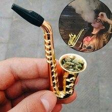 Saxofón único para fumar portátil, pipa de Metal para fumar tabaco, narguile, regalos