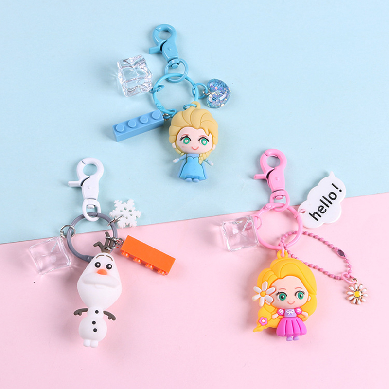 8 Style Cartoon Princess  Anna Elsa Little Girl Olaf Jewelry Keychain Animal Bag Pendant Key Ring Holder Doll Toys Gifts