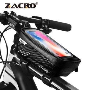 Image 1 - Sacoche imperméable pour vélo frontale de 6.2 pouces, sacoche de guidon pour téléphone portable, Tube supérieur, accessoires de cyclisme en montagne