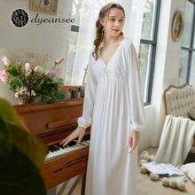 Dyeansee Vintage biała długa koszula nocna kobiety noc suknie księżniczka koszula nocna domowa bawełniana koszula nocna dekolt z długim rękawem odzież domowa