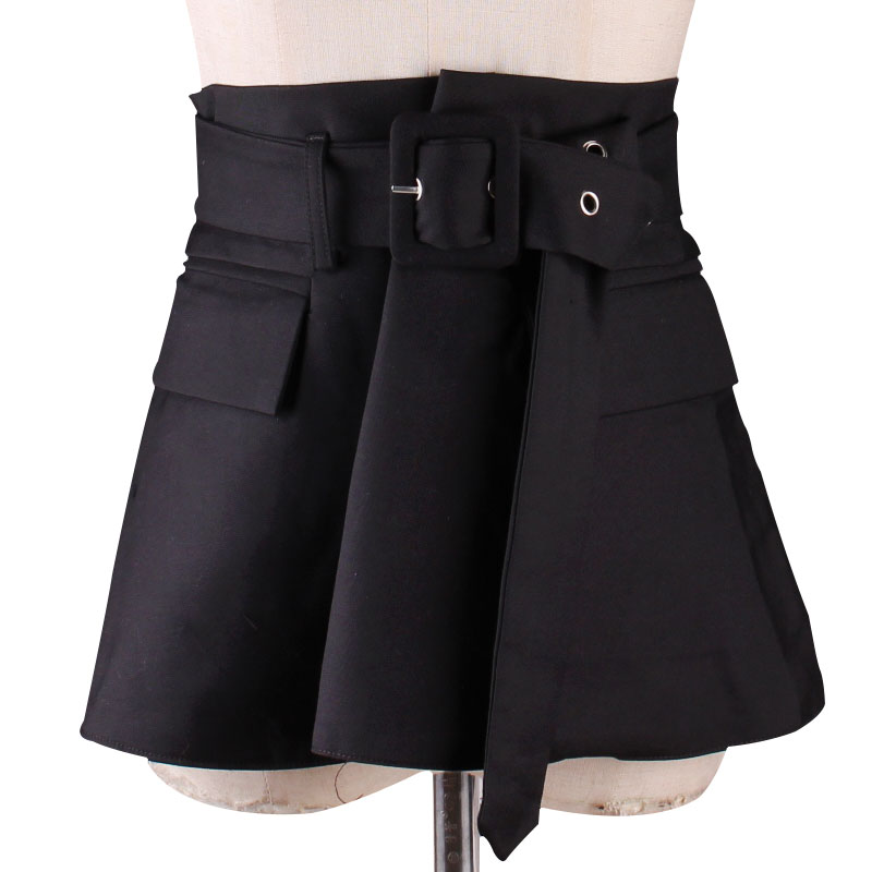 New Product Pin Buckle Leisure Cloth Ultra Wide Waist Sealing Show Thin With The Dress Black  Belt
