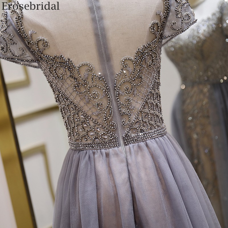 Image 5 - Erosebridal Elegant Short Sleeve Evening Dress 2020 A Line Beads Long Prom Dress O Neck Small Train See Through BackEvening Dresses   -