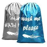 2 Pack Extra Large Laundry Bag, Heavy Duty Travel Laundry Bag, Drawstring Closure Dirty Clothes Bag, Durable Rip-Stop Bag for Ca
