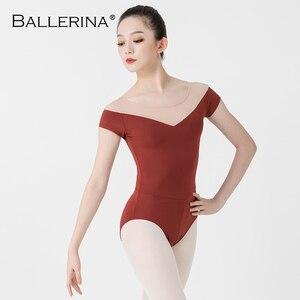 Image 3 - Bailarina ballet leotardo mujeres entrenamiento profesional yoga malla manga corta gimnasia leotardo danza traje Adulto 3582