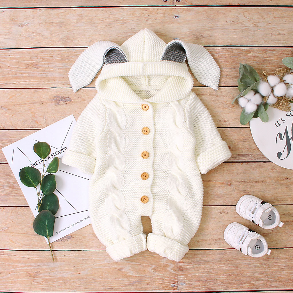 Newborn Infant Baby Girls Boys sweater Warm Coat Knit Outwear Hooded Jumpsuit