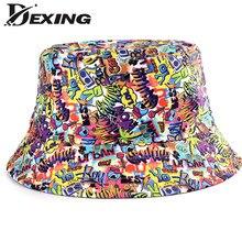 2021 novo verão desenhos animados graffiti balde chapéu para as mulheres dos homens ao ar livre dobrável bob pescador chapéu meninas meninos gorros panamá sol chapéu