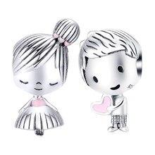 Fit Pandora браслет 925 стерлингового серебра маленькое платье девушка Сердце Мальчик бусины S925 детей подвески для DIY ювелирных изделий