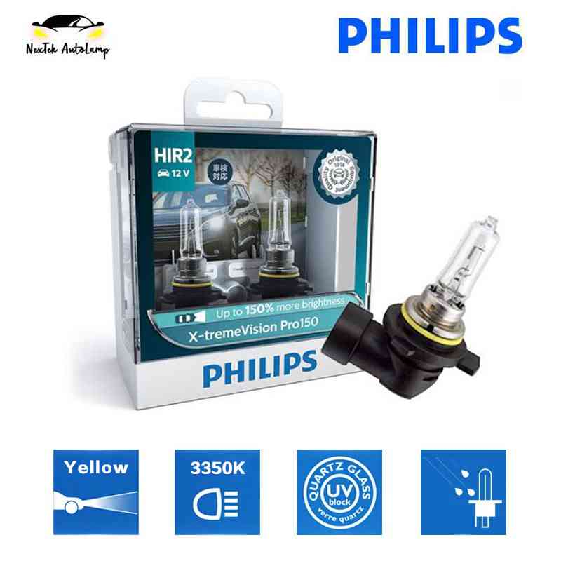 Philips X-treme Vision Pro150 HIR2 12V 55W +150% Brighter Car Halogen Headlight 3350K Yellow Light 9012XVPro150