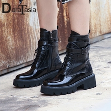 DORATASIA Brand New Big Size 33-43 women's Genuine Leather Belt Buckle Shoes Woman Casual Office Chunky Heels Ankle Boots цена 2017