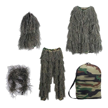 Ghillie Suit 3D 4-Piece with Bag Camouflage Camo Hunting Forest Woodland