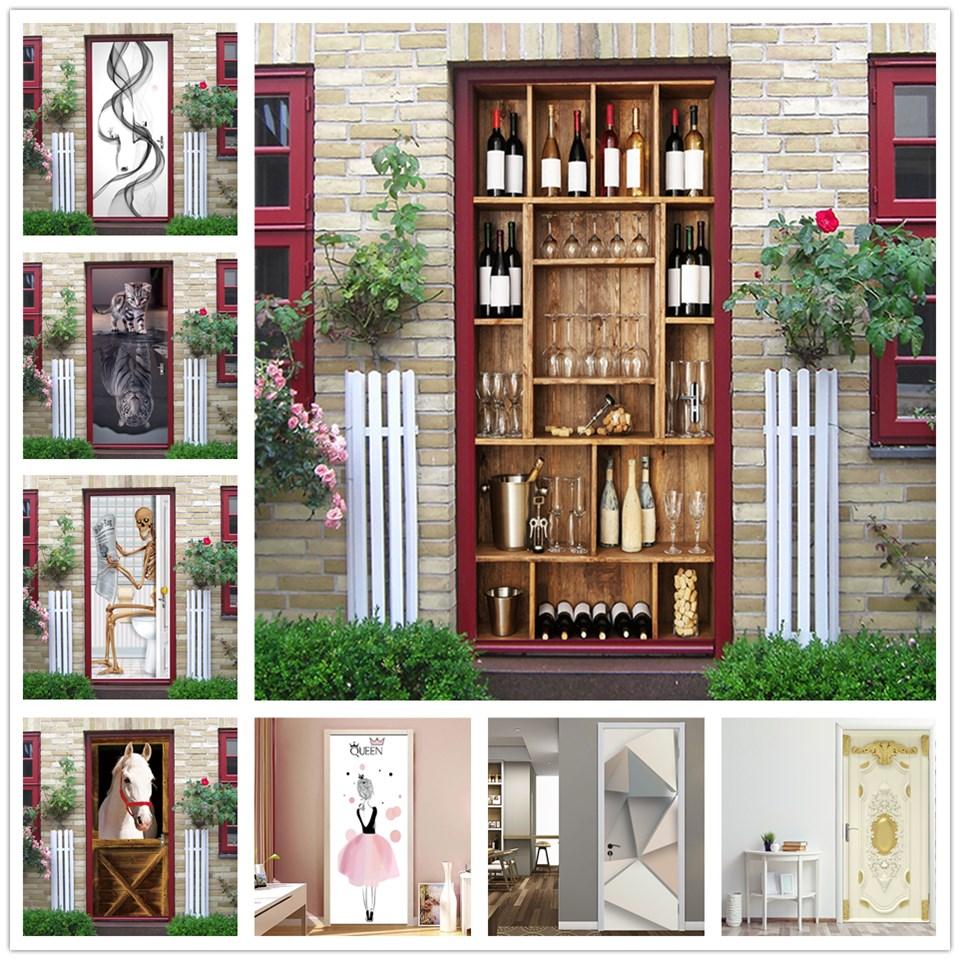3D Door Sticker Wine Cabinet Shelf Home Decoration PVC Waterproof Bedroom Wallpaper Wall Decals DIY Adhesive Murals Deurposter