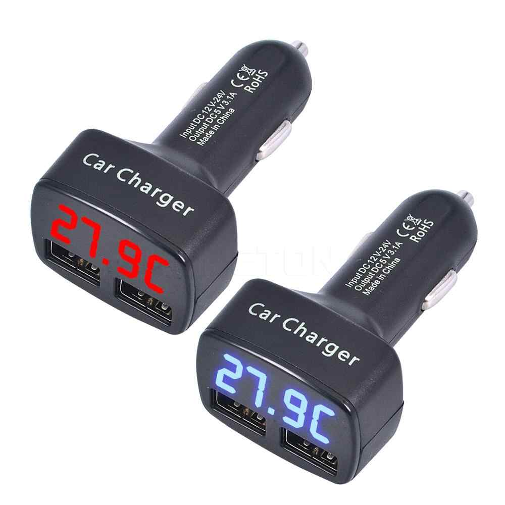 4 in 1 Dual USB Car Charger DC 5V 3.1A Universal with Voltage/temperature/Current Meter Tester Adapter Digital LED Display r20
