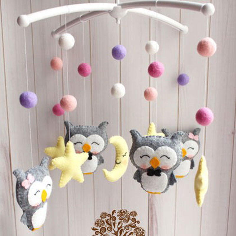 Baby Crib Holder Rattles Bracket DIY Bed Hanging Decor Material Package Toy Pregnant Mom Handmade Toys Rotary Baby Crib Bed Toys