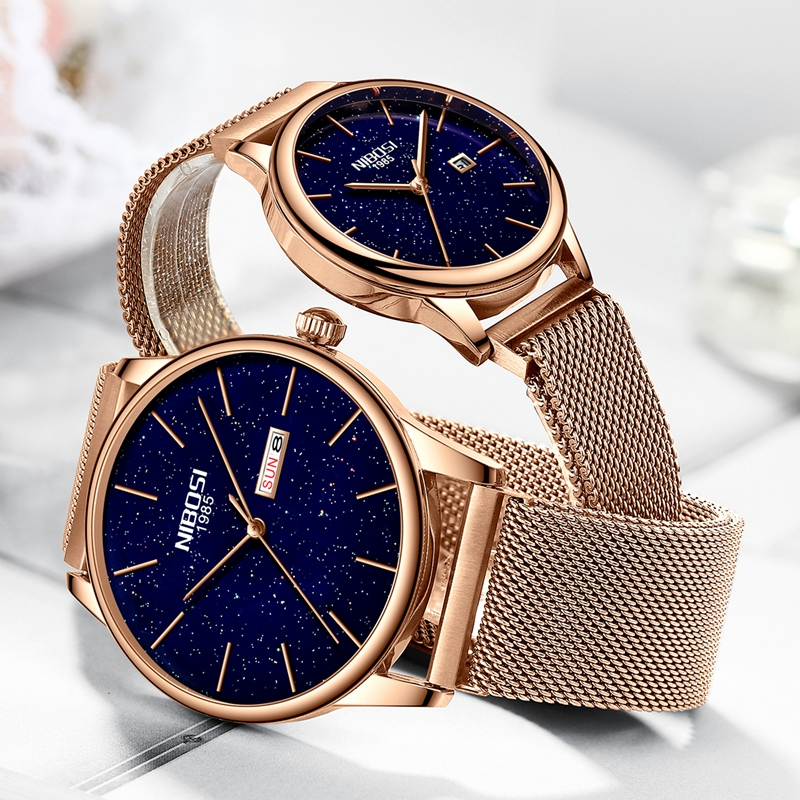 NIBOSI 2019 New Couple Watch Luxury Quartz Mens Watch Women Simple Wristwatch Clock Starry Sky Waterproof Lovers Gift Watch