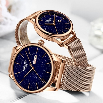 NIBOSI Rose Blue New Couple Watch Luxury Quartz Mens Watch Women Simple Wristwatch Clock Starry Sky Waterproof Lovers Gift Watch