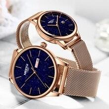 NIBOSI gül mavi yeni sevgili saati lüks kuvars Mens Watch kadınlar basit kol saati yıldızlı gökyüzü su geçirmez severler hediye izle