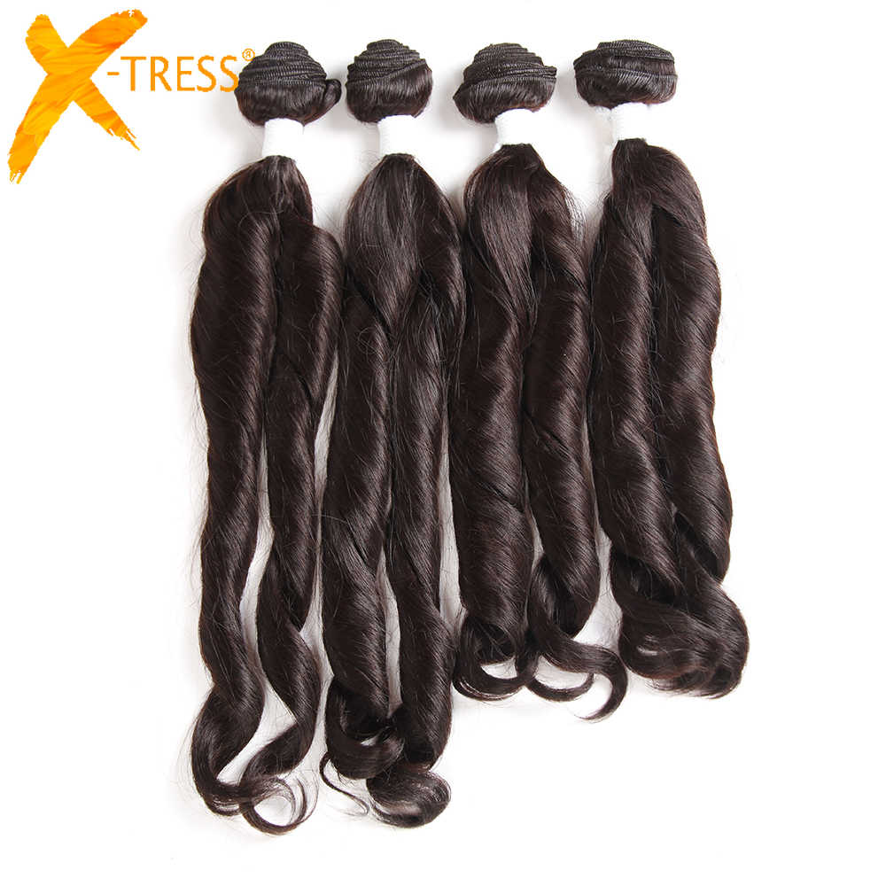X-TRESS Funmi Curly Synthetic Hair Weave Bundles 16-18inch 4Pieces Light Brown Color High Temperature Fiber Hair Weft Extensions