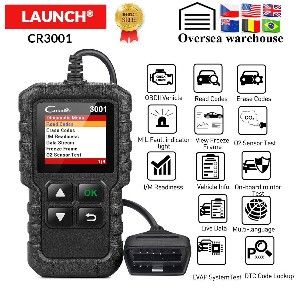 LAUNCH X431 CR3001 Full OBD2 Scanner OBDII Engine Code Reader Car Diagnostic Tool Multilingual Free Update PK CR319 AD310 ELM327