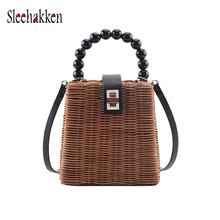 Small women Handwoven Rattan Bag Premium Handbag with Shoulder Straps Natural Chic Purse Shoulder Bag for Beaded  Women Clutch chic beaded hairband for women