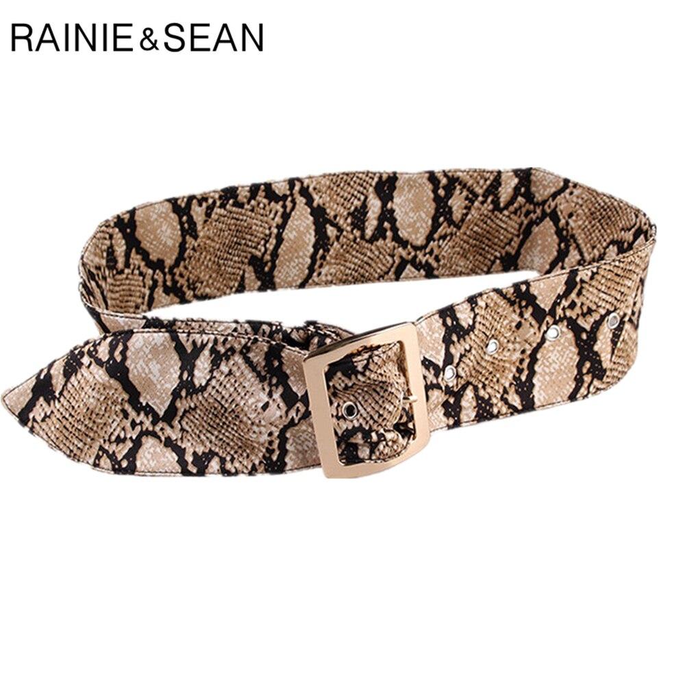 RAINIE SEAN Leopard Print Women Belt Without Holes Fashion Female Cummerbunds for Wide Belts Dresses Ceinture