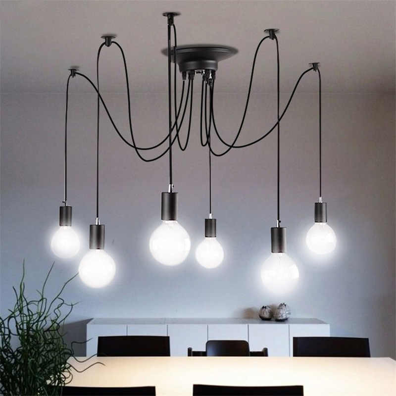 Fer verre pendentif LED lumière industrielle araignée Edison lampe à suspendre rétro Ar pour magasin de vêtements Bar Restaurant salon éclairage