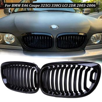 Car Black Kidney Sport Grilles Gri for BMW E46 Coupe 2-Door 1999-2002 Pre-Facelift Replacement Grill Kidney Double Slat Black image
