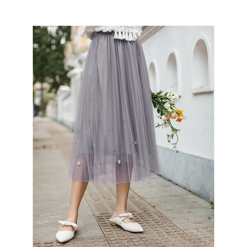 INMAN 2020 Summer New Arrival Literary Elastic High Waist Beading Pleated Double-deck Grenadine Fairy Style Temperament Skirt