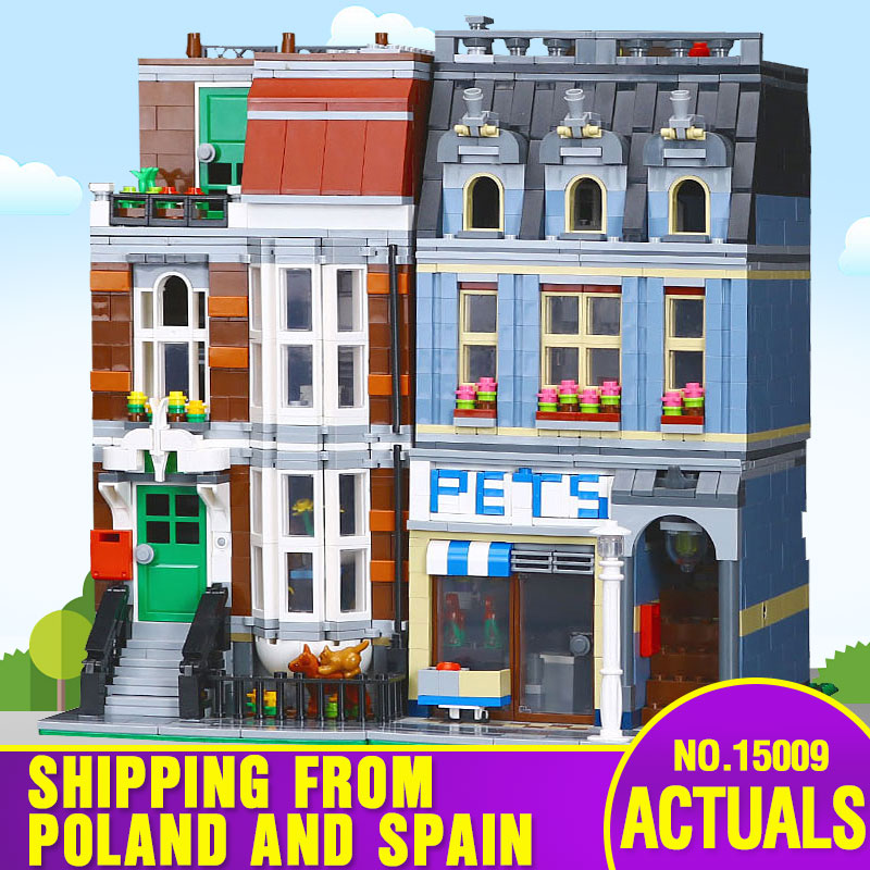 DHL 15009 City Building Series Compatible With Lepining 10218 Pet Shop Supermarket Set Street Building Blocks Christmas Toys
