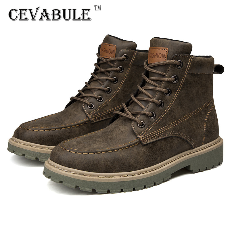Cevauble  Women Men's Shoes Winter Warm Retro Work Clothes Boots Ankle Jeans Casual Shoes Outdoor Antiskid Boot Leather Boot