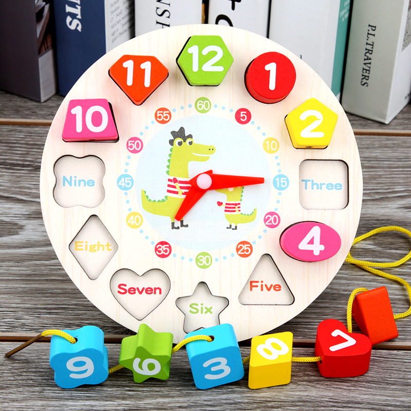 With Numbers Clock Product Wooden Beaded Bracelet Threading Clock Early Childhood Educational Shape Puzzle CHILDREN'S Toy 1-3-Ye