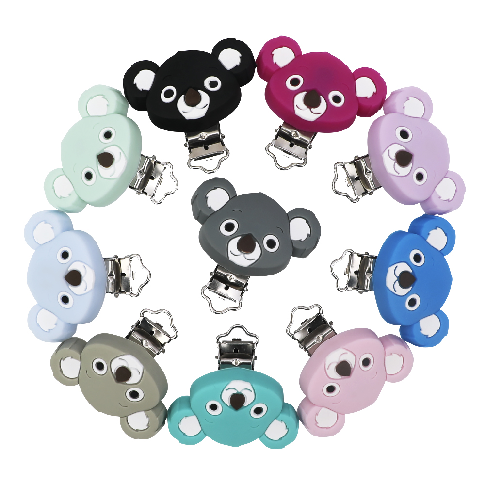 Pacifier Holder For Silicone Pacifier Clip For Nipple Infant Baby Koala Shape Teether Metal Dummy Clips Chains