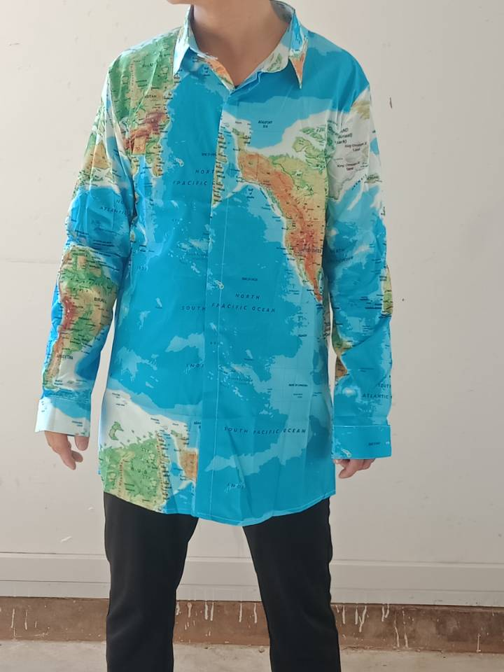 Sagace Clothes Shirt Men World Map Print With Button Shirt Top Blouse Patchwork Casual Stand Long Sleeve Spring Autumn Shirts