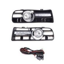 مصد السيارة الأمامي ، مجموعة مصابيح الضباب مع LED لـ VW GOLF MK4 1997 2006 ، 2 قطعة