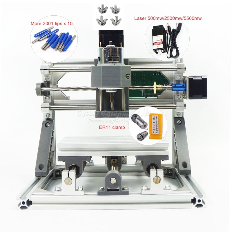 Разобранный Набор мини ЧПУ 1610 PRO + 2500 мвт лазерный гравировальный станок с ЧПУ diy Мини маршрутизатор с GRBL управлением