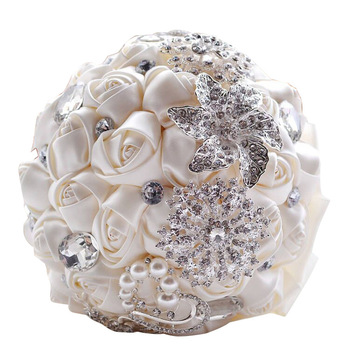 Gorgeous Beaded Crystal Wedding Bouquet Artificial Sapphire Ivory Rose Bridesmaid Flower Pearl Bridal Bouquets Bruidsboeket