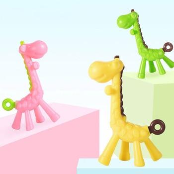 цена на 1Pcs Elastic Baby Teething Toys Baby Pacifier Teethers Food Grade Silicone Soft Teeth Biting Toy Cute Giraffe Teether Toys