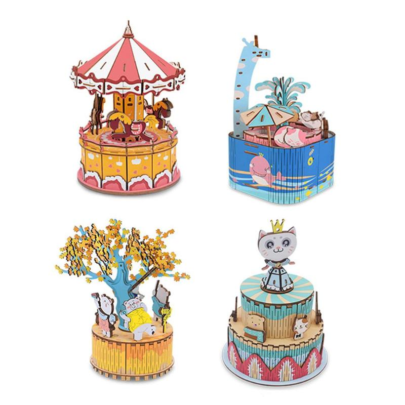 DIY Wood Music Box Carousel Birthday Gift Toy With Machine Core Home Decor