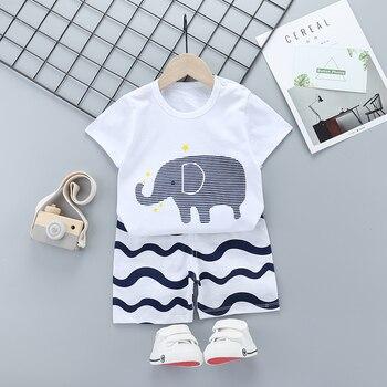 Dziewczyna ubrania letnie maluch zestawy dla dzieci nadruk słonia kostium z krótkim rękawem garnitur dzieci odzież 5 6Y