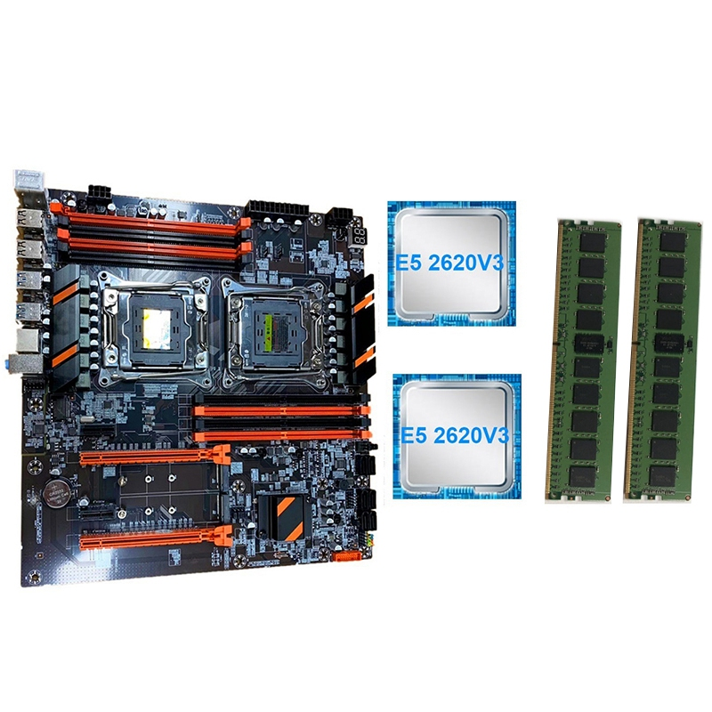 New X99 Dual Computer Motherboard LGA2011 CPU RECC DDR4 Memory Game Motherboard with E5 2620 V3 CPU,2X8GB RAM image