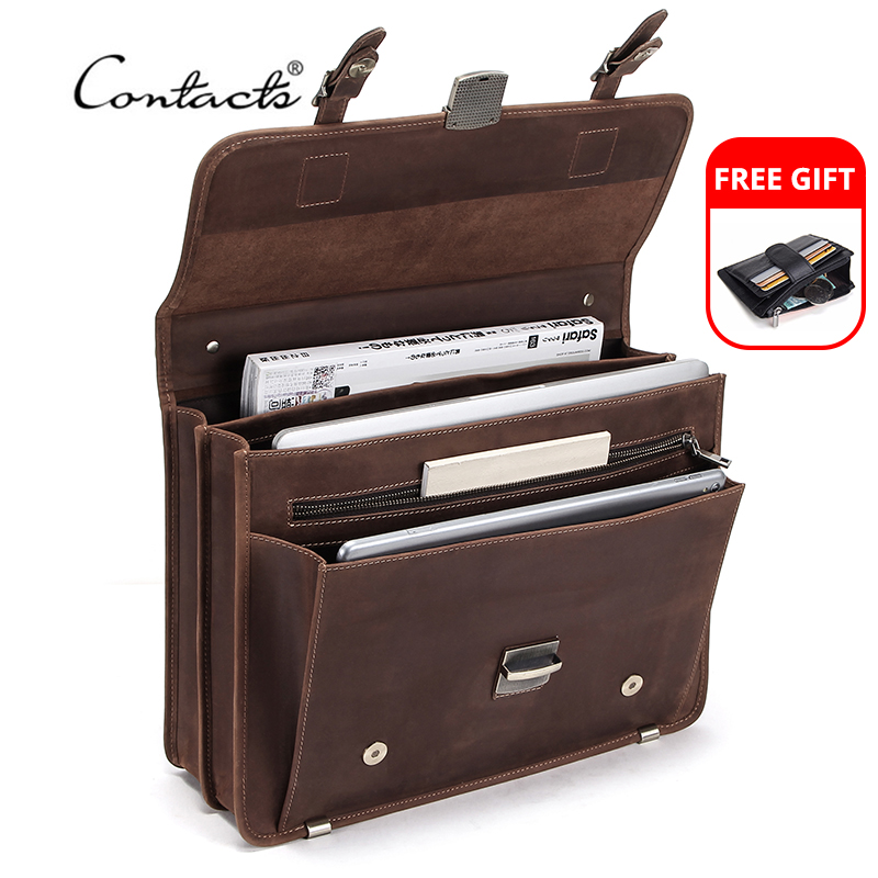 CONTACT'S Retro Men's Bag Crazy Horse Leather Men Briefcase Laptop Bag For 14 Inch Male Business Shoulder Bags Large Capacity