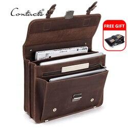 CONTACT'S rétro sac pour hommes Crazy Horse cuir hommes porte-documents pochette d'ordinateur pour 14 pouces hommes affaires sacs à bandoulière grande capacité