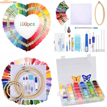 KOKNIT 9 Styles Cross Stitch Floss Embroidery Kit Colorful Threads Magic Hoop Stitching Punch Needle Pen Sewing
