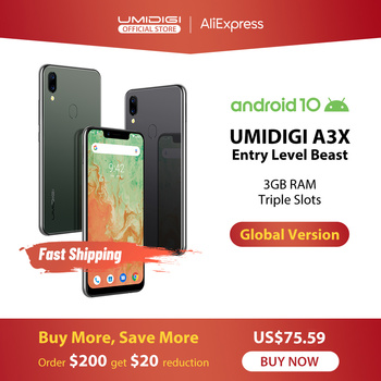 UMIDIGI A3X Android 10 Global Version 3GB RAM 5.7 Smartphone Dual Rear Camera 13MP Selfie MT6761 Dual 4G Triple Slots 3300mAh