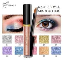 1 pc niceface 10 cor diamante metálico perolado colorido sombra de olho perolado aquosa brilhante sombra de olho nova tslm1