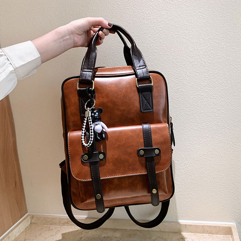 Fashion Lady Student Backpack Women Men PU Leather Waterproof Teenager School Bag High Capacity Outdoor Travel Casual Back Pack