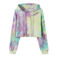 Echoine Women crop hoody Tie dyed hole nostalgic short hoodies ladies sweater autumn winter female sweatshirt clothes pullover